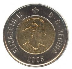 The Canadian 2 dollar coin, commonly called the toonie, was introduced on February 19, 1996 by Public Works minister Diane Marleau. The toonie is a bi-metallic coin which on the reverse side bears an image of a polar bear by artist Brent Townsend. The obverse, like all other current Canadian coins, has a portrait of Queen Elizabeth II.