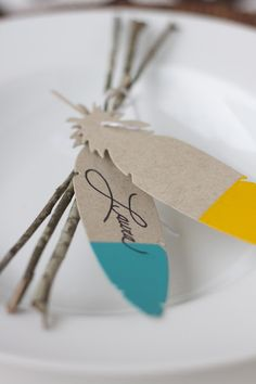 paint dipped paper Feather Place Setting