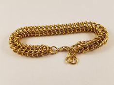 Gold Box Weave Bracelet / Gold Chainmail Bracelet / Gold