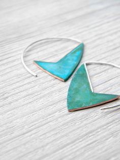 handmade copper and sterling silver dangle earrings with verdigris patina