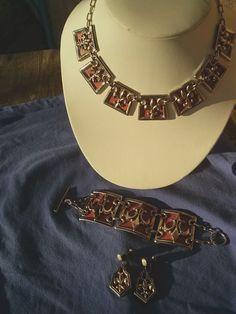 Vintage 1950s Necklace Set Fleur de Lis Chunky by bycinbyhand