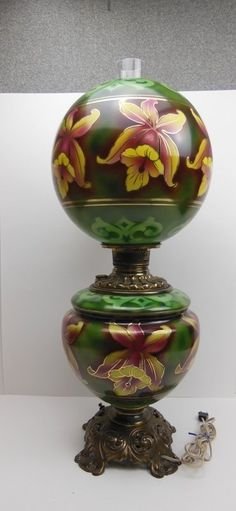 19th Century Oil light with orchid and gold decoration. Electrified.