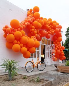 Tangerine magic from Geronimo Balloons, inspired by the Mayfair from Brilliant Bicycles. Balloon Arch, Balloon Garland, Balloon Decorations, Hall Decorations, Balloons And More, Colourful Balloons, Colorful, Geronimo, Diy For Teens