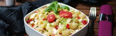 Mediterranean pasta salad with Saint Albray - Salat Olives, Mediterranean Pasta Salads, Pasta Salat, Potato Salad, Potatoes, Ethnic Recipes, Food, Table, Al Dente