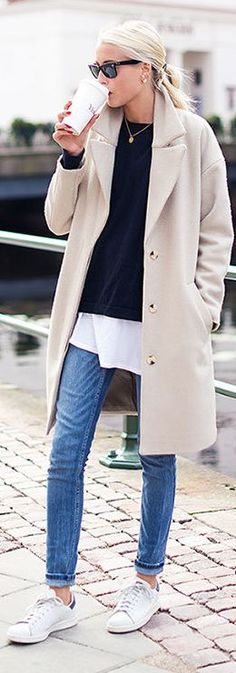Long coats and sneakers