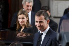 Princess Letizia of Spain and Prince Felipe of Spain  leave the funeral chapel for former Spanish prime minister Adolfo Suarez in the Spanish parliament on March 24, 2014 in Madrid, Spain.