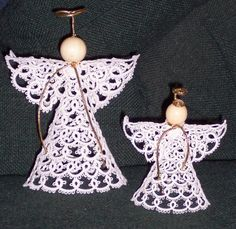 OLD-FASHIONED TATTED ANGEL in two sizes  I may track this pattern down for your tree.  What do you think? @Melinda Crane