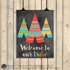 Tribal Wall Art Decor Set, Tribal Nursery Decor, Welcome to Our Tribe, Tribal Classroom Decor, Kids Bedroom Rustic Hunting Decor, DIGITAL by SquishyDesignsbyMe on Etsy