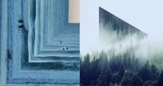 Brooklyn-based graphic designer Victoria Siemer (previously) explores the idea of fractured landscapes through photo manipulations and collages. Siemer makes use of reflected geometric shapes suspended over gloomy natural landscapes shrouded in fog and clouds resulting in portal-like mirrors. She sa