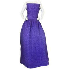 Pre-owned 1960s Arnold Scaasi Couture Purple & Silver Gown ($1,400) ❤ liked on Polyvore featuring dresses, gowns, evening dresses, purple evening gown, blue ball gown, floral gown, purple floral dress and purple dress