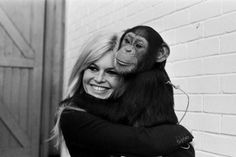 "Brigitte Bardot and friend in London 1966, on the set of the film ""A coeur joie""."