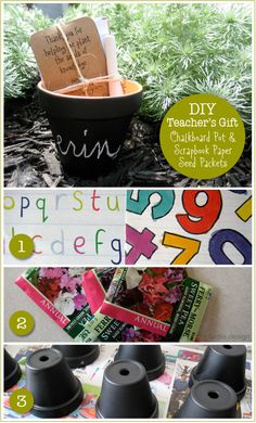 Chalkboard Pots & Scrapbook Paper Seed Packets, so cute. Fabulous gift for teachers, neighbors, and loved ones to celebrate Spring!!