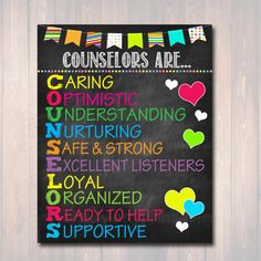 School Counselor Poster, Counselors Are Acronym Art, Office Decor, Counselor Office Decor, Child Psychologist Child Therapist Counselor Gift