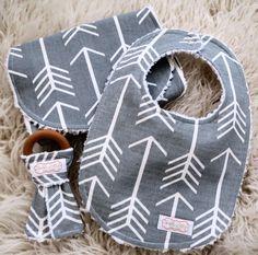 Arrow Bib and Burp Cloth Set - Tribal Bib and Burp Cloth - Arrow Teether - Organic Wood Teether
