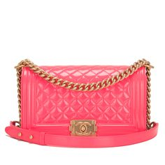 #Chanel Pink Patent Medium Boy #Bag