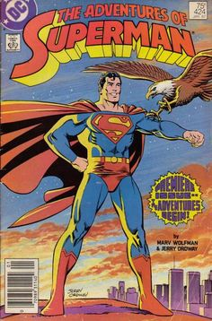 Adventures of Superman - Cover date: Jan Cover artist: Jerry Ordway Writer: Marv Wolfman Penciller: Jerry Ordway Inker: Mike Machlan Colorist: Tom Ziuko Letterer: John Costanza™ and © DC COMICS. Marvel Comics, Action Comics 1, Marvel Dc, Rare Comic Books, Comic Book Covers, Cat Grant, Superman Birthday, Superman Comic, Superman Stuff
