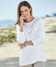 8a0b8d50020221 Damart Cable Knit Round Neck White Sweat Size 14/16 RE076 II 04 #fashion