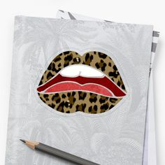 'Leopard Lips - Rocker Chick' Sticker by Drugaya Rocker Chick, Transparent Stickers, My Arts, Lips, Art Prints, Printed, Awesome, Artist, People
