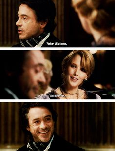 """Holmes's """"someday soon I'm gonna throw you out of a train"""" smile."""
