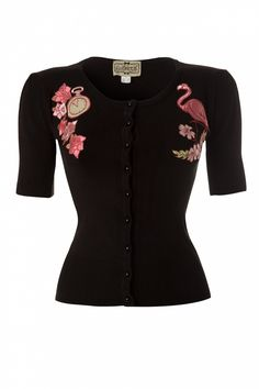 Collectif Clothing - 40s Katie Flamingo Cardigan Black