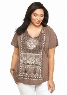 Kim Rogers  Plus Size Tassel Short Sleeve Knit Top