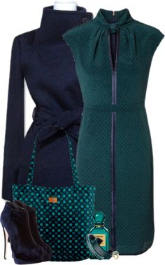 "DEEP ""Navy & Malachite"" by curvacious on Polyvore. . .the colors, not so much the style"