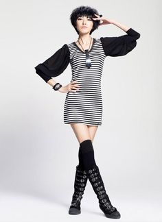 Othermix- Bishop-Sleeve Striped Dress $42.00 Bishop Sleeve, Hippie Outfits, Striped Dress, Red Carpet, Cold Shoulder Dress, Shirt Dress, Black And White, Sleeves, Shirts