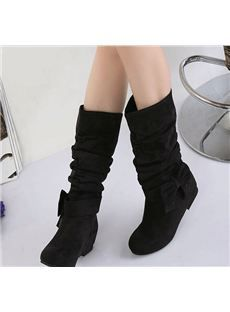2013 Fall New Arrival Pure Color Rhinestones Bowknot Women's Flat Boots