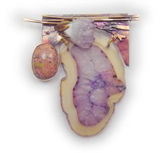 Purple Brooch   agate geode slice  unakite cab and amethyst crystal angelwing  in sterling silver and married metals by Cathleen McLain by mysticafelicity on Etsy