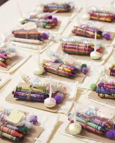Such an amazing idea. For kids attending your wedding, place crayons and suckers on their plates. This will (hopefully) keep them occupied for some grown up chit chat time. Have them color cards for the bride and groom and leave them for the newlyweds.