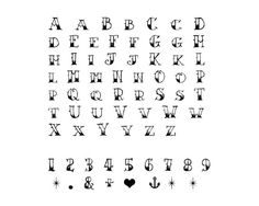 Letters Tattoo Alphabet & Numbers Tattoo Sailor Jerry by myTaT