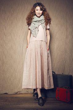 Rosa Leinenkleid. Lockeres Kleid, AsymmetrischesKleid, Maxi Kleid, Brautjungfer Kleid