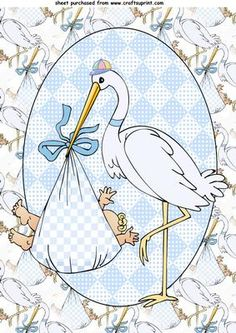 Baby boy stork topper on Craftsuprint designed by Sharon Poore - baby boy stork topper - Now available for download!