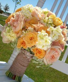 Orange, peach and white bouquet