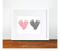 Gift for Grandma - Baby Footprint Hearts - Pink Gray Nursery Art Print - Personalized Gift for Mom, Mother, Grandma, Gramma, Grandmother. $30.00, via Etsy.
