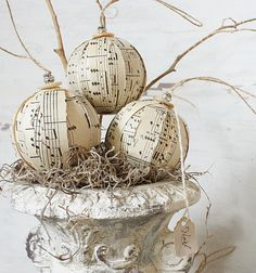rustic rag ball ornaments - vintage sheet music ornies - set of six on etsy by clothandpatina, $42.