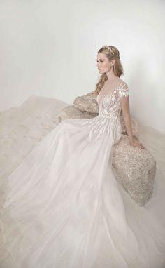 """Alice"" illusion dress by Lee Grebenau   NY Bridal Week. Photography: Courtesy of Lee Grebenau. Read More: http://www.insideweddings.com/news/fashion/explore-the-2016-mother-of-pearl-collection-by-lee-grebenau/2511/"