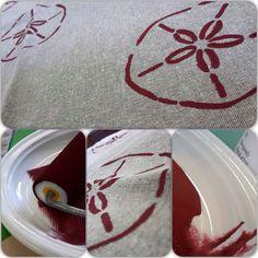 """Stencil """"Dollar Sand"""" Burgundy sulla federa di un cuscino Chalk Paint Annie Sloan www.ilparadisodisilvia.com"""