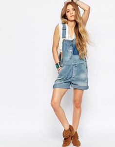 Image 4 ofDenim & Supply By Ralph Lauren Relaxed Dungaree With Patch Detail