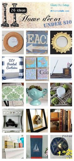 26 Home Decor Ideas Under $10 ~ * THE COUNTRY CHIC COTTAGE (DIY, Home Decor, Crafts, Farmhouse)