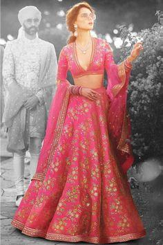 Pink thai silk heavy lehenga choli in zari and sequins embroidery. Wedding designer pink thai silk embroidered bridal lehenga and thai silk heavy embroidered semi-stitched lehenga choli. Sabyasachi Lehenga Bridal, Floral Lehenga, Silk Lehenga, Lehenga Blouse, Floral Blouse, Saris, Salwar Kameez, Costumes Anarkali, Lehenga Crop Top