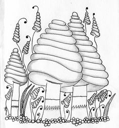 Mushrooms zentangle