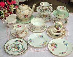 Mixed Vintage China Tea Set with Floral Teapot, via Flickr.