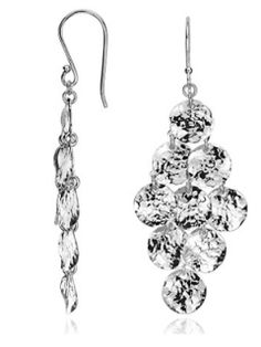 Shimmery Silver for a Hint of Disco:     Hammered Chandelier Earrings in Sterling Silver, $88, bluenile.com