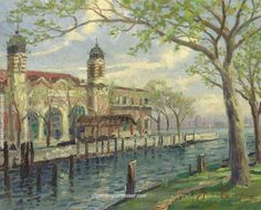 Thomas Kinkade Ellis Island painting outlet for sale, painting Authorized official website