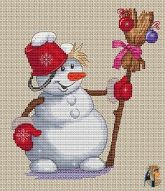 Snowman Cross Stitch Pattern, Xmas Cross Stitch, Cross Stitch Kitchen, Counted Cross Stitch Patterns, Cross Stitch Charts, Cross Stitch Designs, Cross Stitching, Cross Stitch Embroidery, Cross Crafts