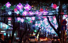 Una calle llena de luces para el año nuevo en Vietnam