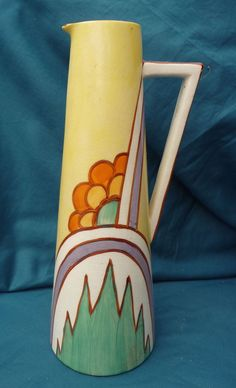 rare vintage hand painted art deco jug impressed royal clarice cliff style 29cm