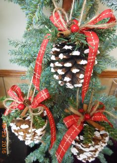 Pinecone Ornaments Pine Cone Ornaments Country Christmas