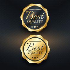 best quality golden label design Free Vector